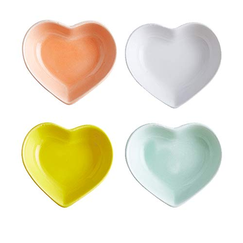 Super Cute heart shape Ceramic Sauce Dish,Mini Side Seasoning Dish,Condiment Dishes/Sushi Soy Dipping Bowl,Snack Serving Dishes,Love Porcelain Small Saucer Set(Set of 4) (4 Color)