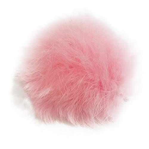 La Loria Damen 2 Schuhclips Plush Ball aus Fell-Imitat Pompon Clips Schuhschmuck, Rosa, 5 cm
