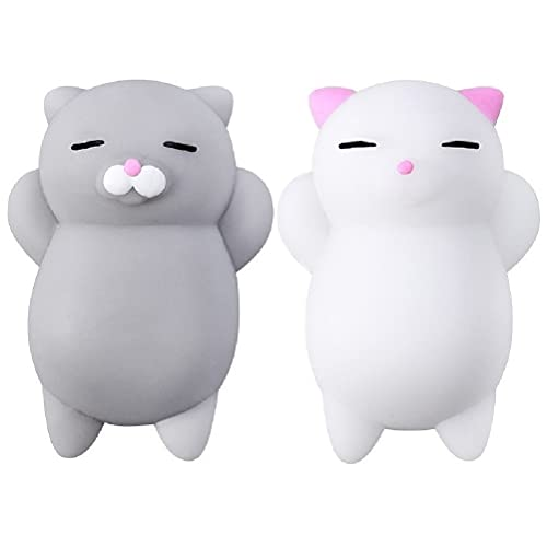 Nutty Toys Squishy Cat Set - 2 Soft Silicone Kawaii Kitty Fidget, Top Stress Relief Sensory Gifts 2021, Unique Kids & Adults Birthday Idea, Best Teen Girls, Teenage Boys & Tweens Party Favor Present