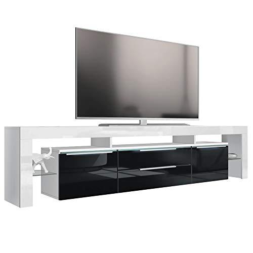 Vladon TV Board Lowboard Lima Nova V2, Korpus in Weiß matt/Front in Schwarz Hochglanz