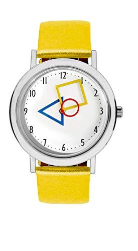 Aristo Unisex Bauhaus Quarz-Uhr RGB | Bauhaus Feat. Mondrian | Lederarmbanduhr | 100 Jahre Bauhaus (gelb)