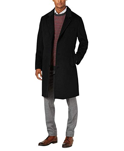 LONDON FOG Men's L19195 Signature Wool Blend Top Coat - Black - 40R