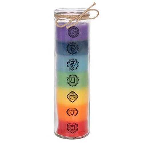 Hunky Dory Gifts - Candela Grande in Vetro per Chakra, 20 cm, aromatica con Oli Essenziali Seven 7