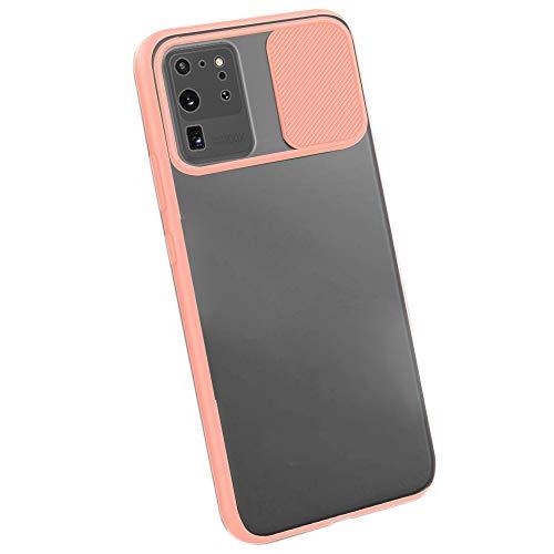 Dqtaoply Hülle Kompatibel mit Samsung Galaxy S20 Ultra Stylisch Schutzhülle mit Kamera Objektivschutz Abdeckung Transluzent Matte Hart Handyhülle + TPU Silikon Bumper für Galaxy S20 Ultra (Pink)