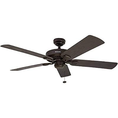 Honeywell Belmar 52-Inch Indoor/Outdoor Ceiling Fan, Five Damp Rated Fan Blades, Bronze (Renewed)