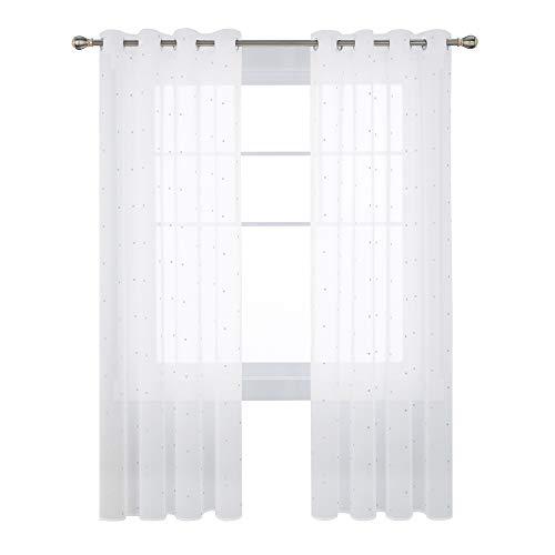 Deconovo Visillos para Ventanas Dormitorio Cortina Translúsida Salón