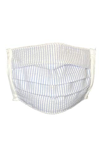 GCK Striped Floral Cotton Cloth Face Covering Fabric Washable Reusable Pollution Dust Shield (Blue)