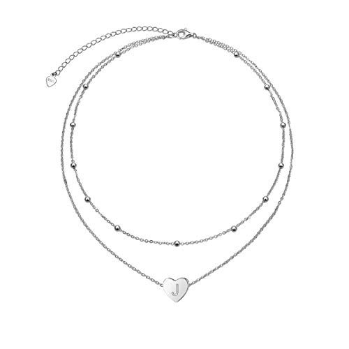 Dainty Initial Heart Necklace Sterling Silver Clavicle Personalized Choker Necklace Jewelry Gifts for Women Letter J