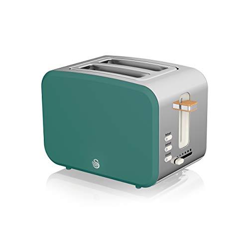 Swan Nordic Breitschlitz-Toaster für 2 Scheiben, 3 Funktionen, 6 Bräunungsstufen, modernes Design, Edelstahl, Griff in Holzoptik, mattgrün