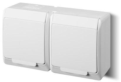 1-fach 2-fach 3-fach Aufputzsteckdose IP44 16A/250V Schuko Aufputz Feuchtraum Steckdose (2-fach, weiß)