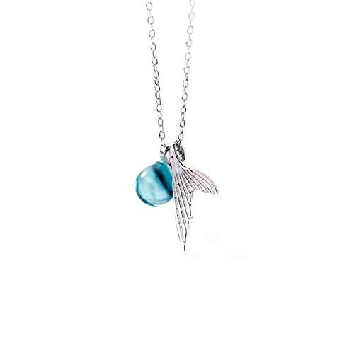 0 925 Damen Halskette Meerjungfrau Fischschwanz Halskette mit blauen Kristall Anhänger Glaskette Halskette 925 Sterling Silber Schmuck Geschenk 925 Sterling Silber Halskette