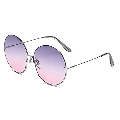 QFSLR Gafas de sol retro de marco grande redondo medio marco gafas de sol para mujer, 100% protección UV, marco de metal, adecuado para conducir, viajar, ir de compras, playa, G