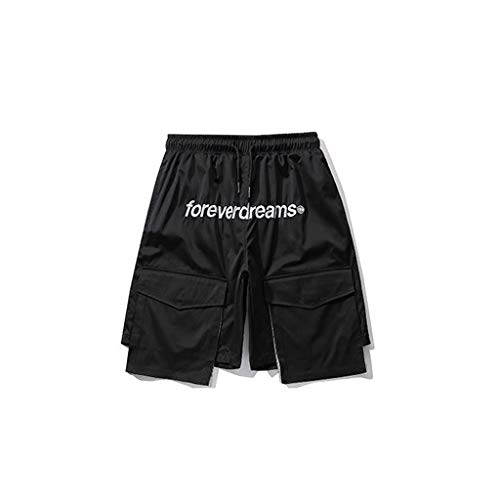 GCX- Shorts Mannen shorts Men's Summer Thin Shorts Multi Pocket Loose Straight shorts Hippe Shorts Vrije tijd (Color : Black, Size : M)