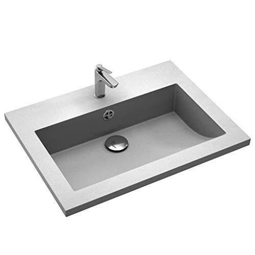 tidyard Waschbecken Handwaschbecken Waschtisch mit Überlauf aus Granit, Rechteckig 60 x 45 x 12 cm (L x B x H), Grau