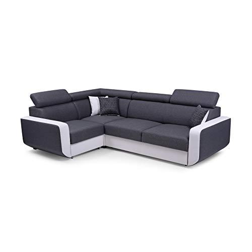 MOEBLO Ecksofa mit Schlaffunktion Eckcouch mit Bettkasten Sofa Couch L-Form Polsterecke Celine (Grau, Ecksofa Links)