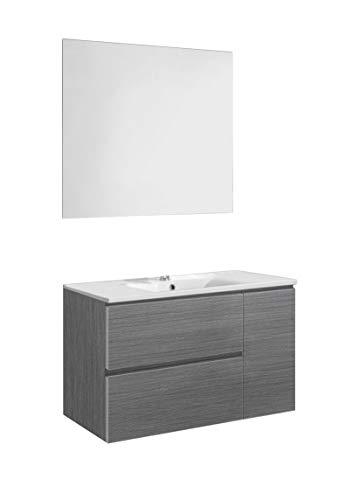 Baikal 830134041 Conjunto de Mueble de Baño con Lavabo y Espejo, Suspendido a la Pared, Dos Cajones y Una Puerta, Melamina 16mm, Acabado en Roble Gris Ceniza, 80 X 65 X 46 cm
