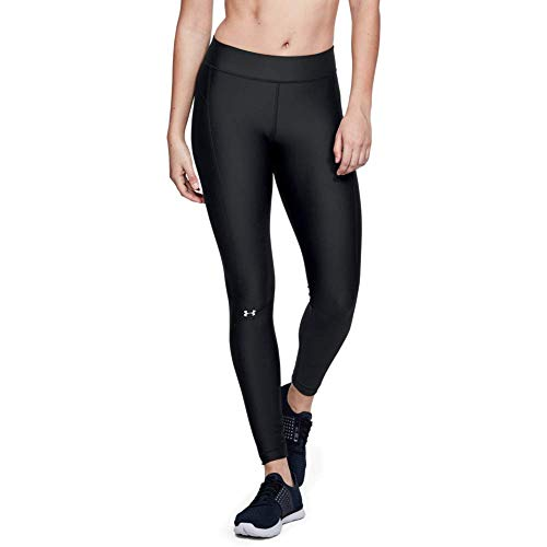 Under Armour UA Heatgear Leggings, Mujer, (Black/Black/Metallic Silver (001), XL