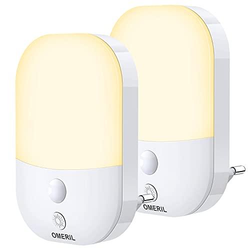 Luz Nocturna Enchufe, OMERIL 2 Pack Luz de Noche con Sensor de Luz Automático, Luz Nocturna Infantil con 5 Brillo Ajustable, 3 Modos, Luz Quitamiedos para Habitación Bebé, Dormitorio, Pasillos
