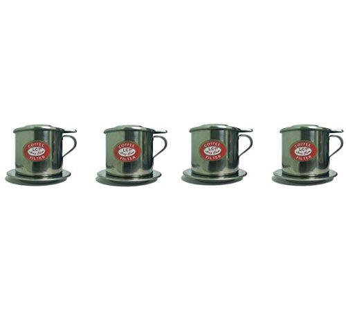ベトナムコーヒーフィルター4点セット ポアオーバードリッパースタイル スロードリップコーヒーメーカー アイスCa Phe Sua Daの美味しい一杯を淹れる ベトナム製 ステンレススチールインフューザーフィン(4、8Q)