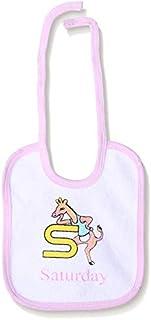 Jocky Giraffe-Print Neck-Tie Rectangular Baby Bib - White and Pink