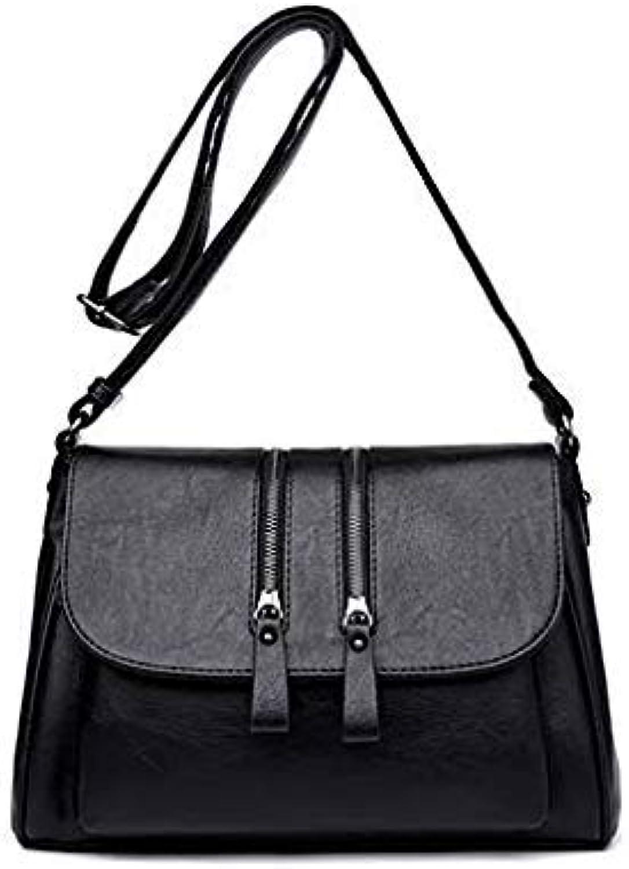 Bloomerang New Double Zipper Women Messenger Bags Soft Women Crossbody Bag Designer Women Pu Leather Handbags High Quality Female Bags color Black 30cm 12cm 22cm