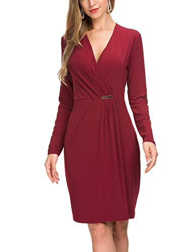 Le Vonfort Women's Casual Dress Crossover V Neck Swing A Line Work Belted Faux Wrap Dress