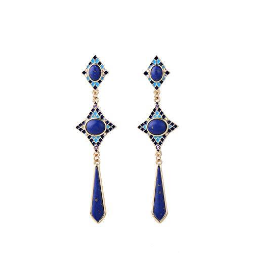 Vintage lapislázuli pendientes temperamento femenino personalidad vestido de banquete pendientes largos joyas europeas y americanas azules
