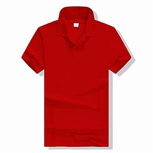 Camiseta Hombre Básico Color Sólido Casual Poloshirt Hombre Negocio Clásico Slim Fit Hombre Manga Corta Verano Simplicidad Elástica Camisa Deportiva Hombre D-Red 3XL