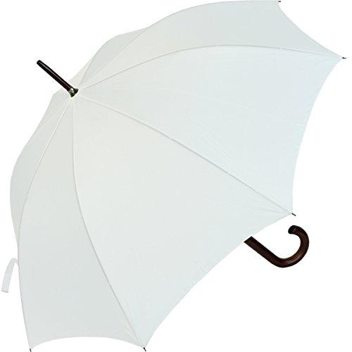 RS-Regenschirm Holzstock groß stabil für Damen und Herren mit Automatik- weiß