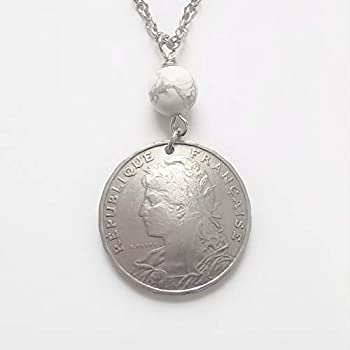 CoinageArt -French Coin Necklace Dates 1904-1908 Liberty image with Rods and Axe Fasces symbol of defiance with Howlite Gemstone on Brilliant Adjustable Chain Domed Coin 5043