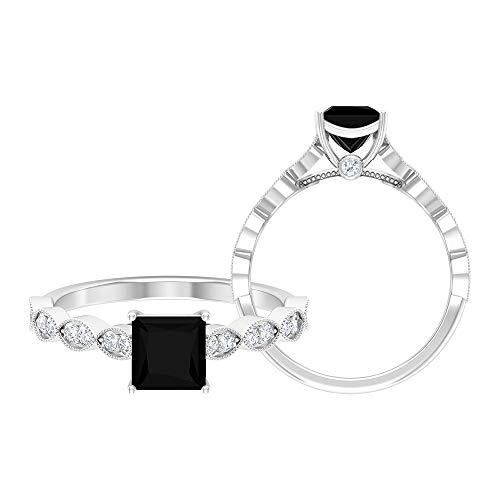 Anillo de diamante negro creado CTLab, D-VSSI, anillo de oro moissanita, 5,5 mm, corte princesa, anillo de compromiso, anillo solitario con piedra lateral, 14K Oro blanco, Size:EU 56