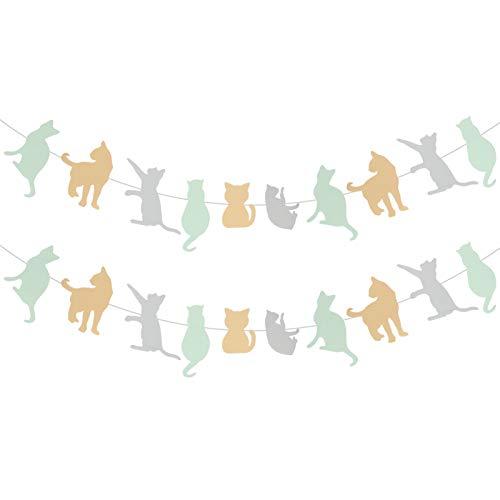 WINOMO Guirnalda para fiestas de perros, diseño de gato, 2 unidades, diseño de animales