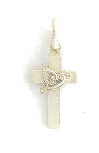 Klassisches Kreuz mit Taube aus 925 Silber, massiv