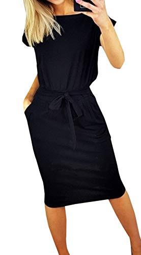 Ajpguot Damen Freizeit Kleid mit Gürtel Elegant Rundhals Midi Kleider Blusenkleider Ballkleid Festkleid Frauen Langarm Tasche Wickelkleider Abendkleider Partykleid (M, Schwarz 1)