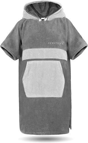 normani Baumwoll Handtuch-Poncho - Unisex Strand Umziehhilfe - geschlossener Bademantel für Damen und Herren Farbe Grau/Hellgrau Größe S/M