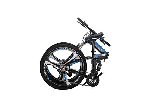 "Foldable Mountain Bike for Men & Women 21 Speed Shimano Dual Disk Brake Dual Suspension Heavy Duty MTB, 18"" Frame 26"" 3-Spoke Rim"