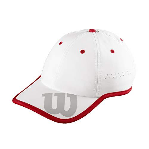Wilson Brand Hat, WRA733702 Cappellino, Protezione UV, Regolabile, Taglia Unica, Bianco/Rosso/Grigio