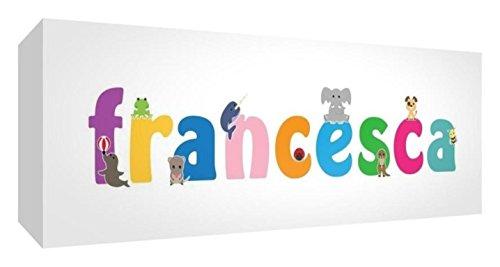Little Helper LHV-FRANCESCA-3084-15IT Tela per Nursery con Pannello Frontale, Disegno Personalizzabile con Nome da Ragazza Francesca, Multicolore, 30 x 84 x 3 cm