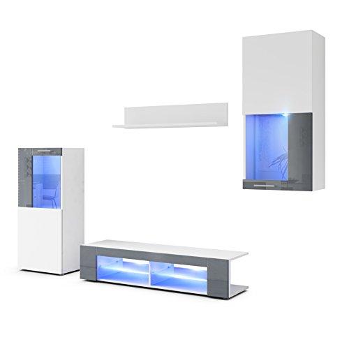 Conjunto de Muebles de Pared Movie, Cuerpo en Blanco Mate/Frentes en Blanco Mate y Gris de Alto Brillo con iluminación LED en Azul
