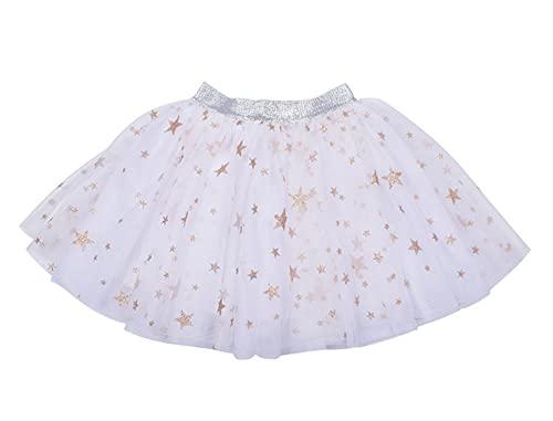 ZRFNFMA Mädchen Rock Baby Netz Kleid Sommer Mädchen Röcke Kinder Tanz 3-lagige Tüllröcke Weiß-L