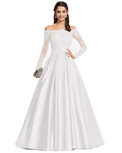 Miao Duo Off Shoulder Long Sleeves Lace Bridal Wedding Dresses Plus Size Bride Ivory 24Plus