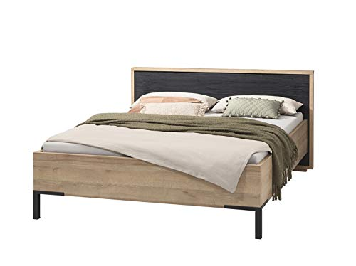 Ariana Collection Modern Chic Double Bed 180 x 200 cm Black and Beige