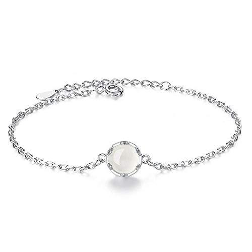 CHWEI Knitted Hat Pulseras para Mujer 925 Mujer De Plata Esterlina Moda Retro Joyería De Plata Pulsera De Diamantes De Imitación Cadena Circular Cruz Joyería A