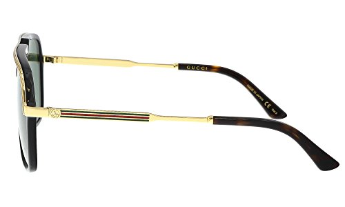 Fashion Shopping Gucci GG0200S 001 Black/Gold GG0200S Square Pilot Sunglasses Lens Category 3, 57-14-145