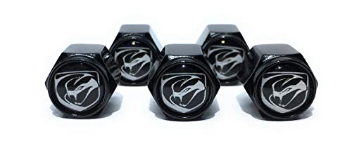 Buycleverly Tire Valve Stem Caps Set/5 Pcs for Vehicles Cars Dodge Viper SRT Logo Dodge Charger Challenger Hellcat Viper SRT