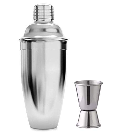 26 Ounce 750ml, Cocktail Shakers Stainless Steel Cocktail Shaker Built-in Bartender Strainer with Measuring Cups 15 30 ml Drink Bar Set Accessories