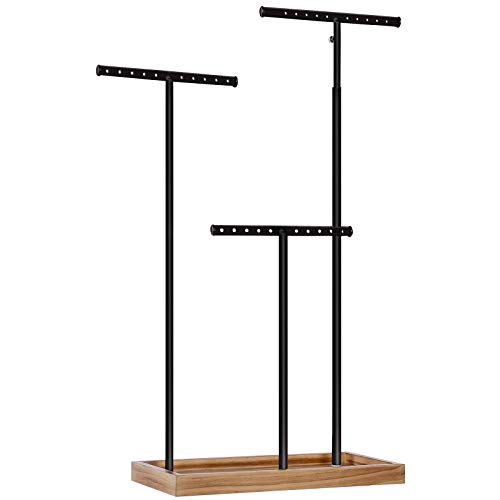 SONGMICS 2-in-1 Jewelry Display Stand Holder, christmas gifts for women, Jewelry Rack Tree with 3 T-Shape Metal Bars with Holes, Storage Tray, Adjustable, Long Necklace Bracelet Earring Ring, Rustic Brown and Black UJJS016B01