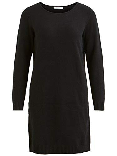 Vila Damen Viril L/S Knit Dress - Noos Kleid, Schwarz (Black), XL EU