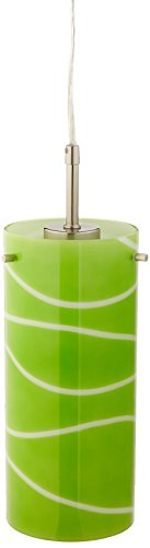 "Lite Source LS-19991GRN Pacifica Pendant Lamp with Green Glass Shade, 4.75"" x 4.75"" x 85.5"", Green"