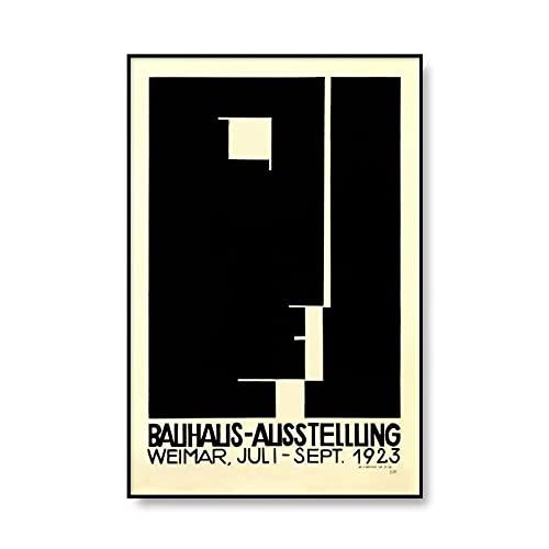 Impresión de arte abstracto Bauhaus minimalismo moderno 1923 cartel de exposición de Weimar cuadro sin marco lienzo pintura A2 50x75cm